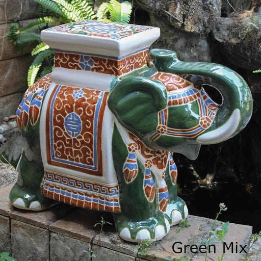 Patio Side Table - Porcelain Elephant Stool/Side Table