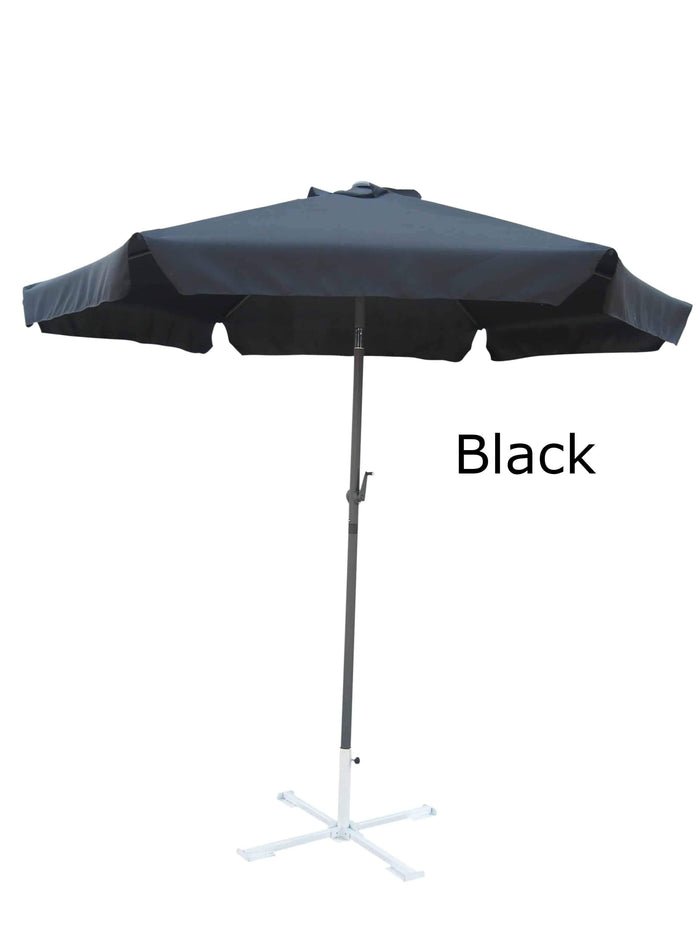 Umbrella - Patio Umbrella Aluminum 8 Feet Crank & Tilt Black