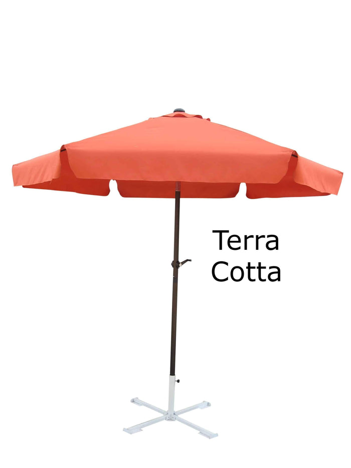 Umbrella - Patio Umbrella Aluminum 8 Feet Crank & Tilt Terra Cotta