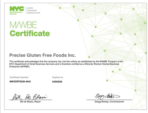 NYC MWBE certification precise gluten free foods