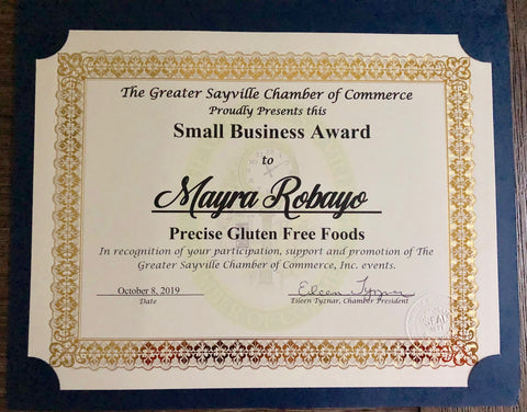 Precise gluten free small business award sayville chamber of commerce