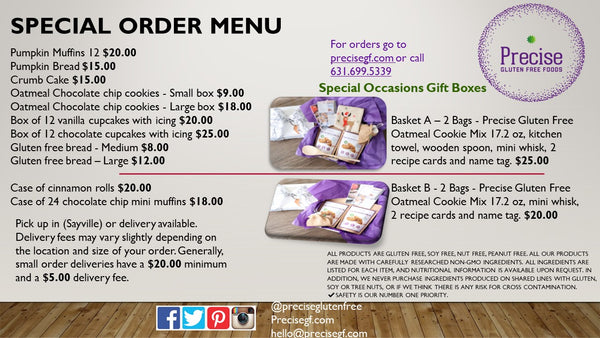 precise order menu holiday baking cakes gluten free allergy friendly