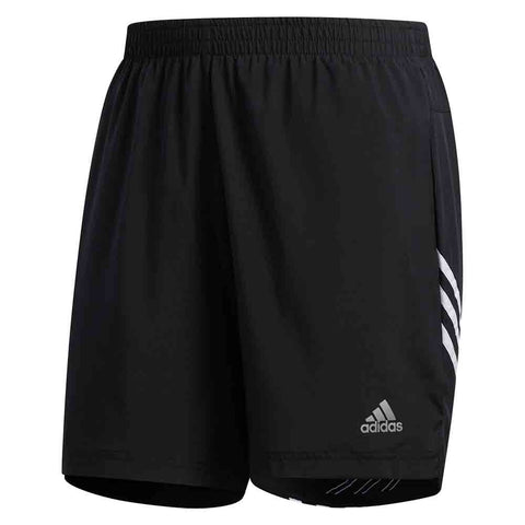 Adidas Pantaloneta Run It 3 Rayas 7 Pulgadas - Negro/Blanco