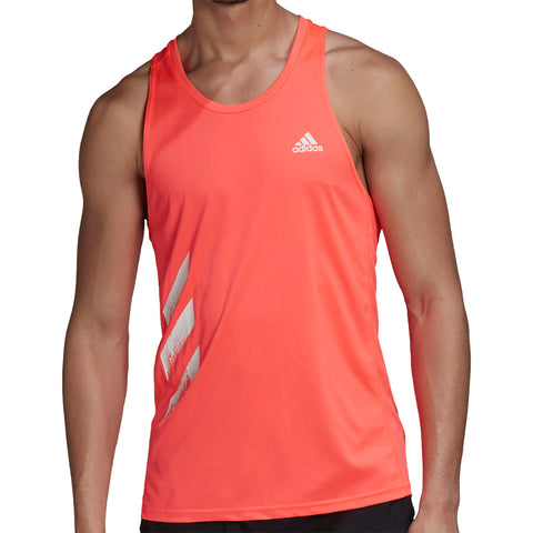 Adidas Camiseta Own the Run 3 Franjas Hombre - Naranja/Blanco