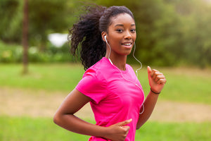 aerobic capacity: woman jogging outside