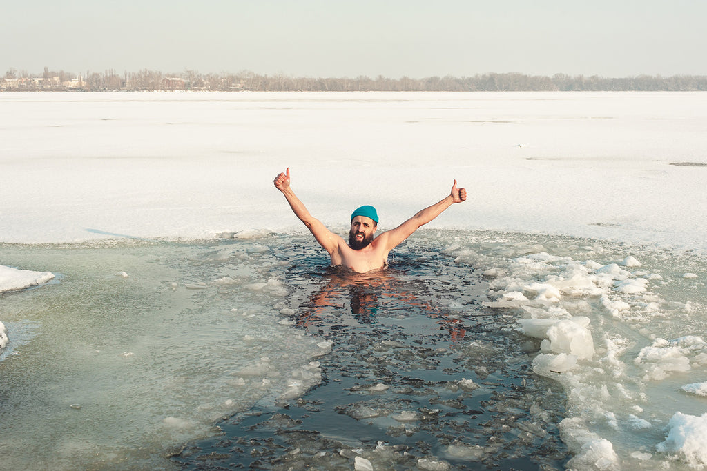 a person in an ice bath