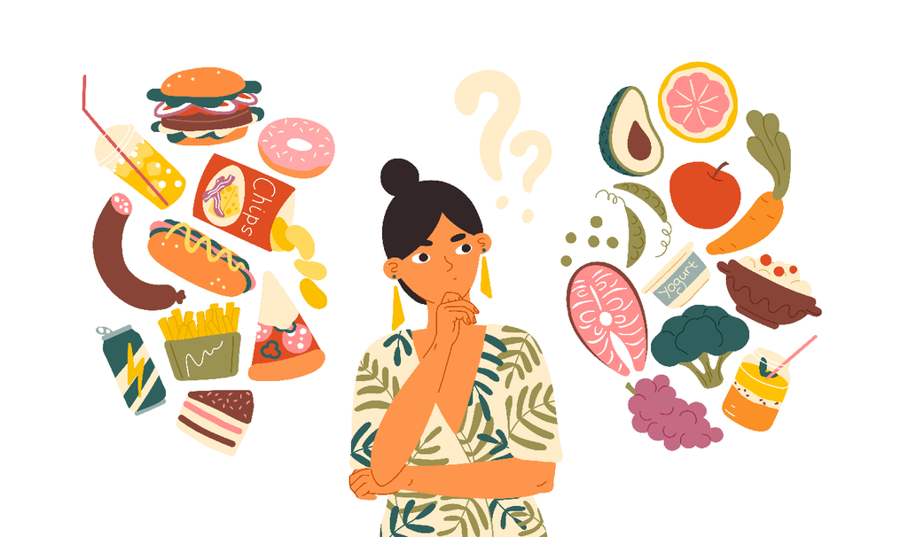 how to stop eating junk food: Drawing of woman thinking of junk food and healthy food