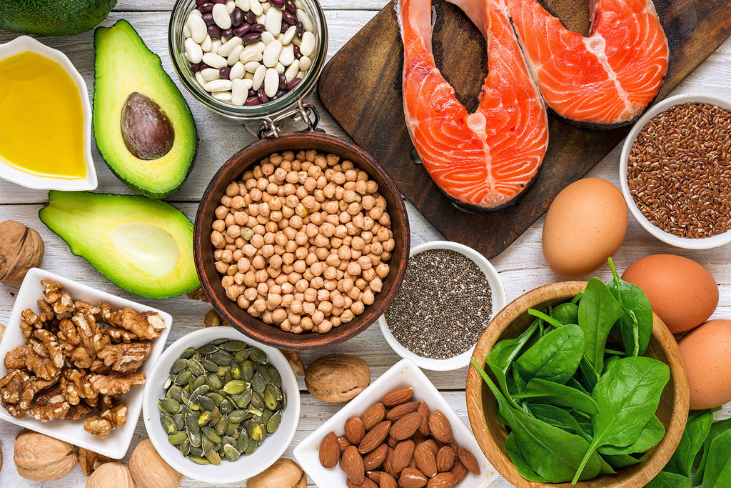 omega 3 6 9: top view of different food groups that contain omega-3 fatty acids