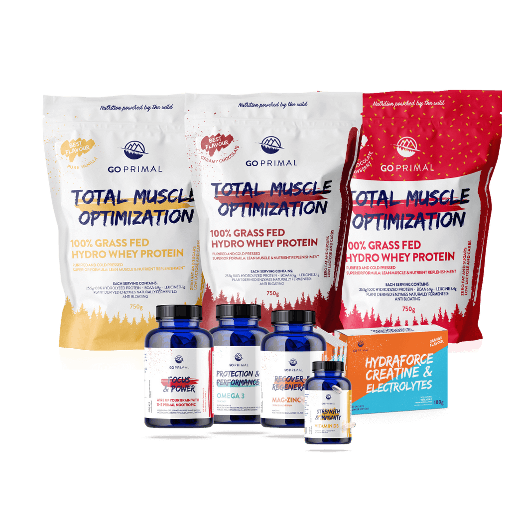 The complete health pack includes all essential athlete's supplements like protein, creatine, Omega-3, vitamins, minerals and nootropics