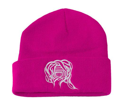 Castle Addict Hot Pink and White Beanie