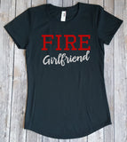 Fire Girlfriend Shirt, Love my Firefighter, Shirt for her, Glitter Girlfriend Shirt