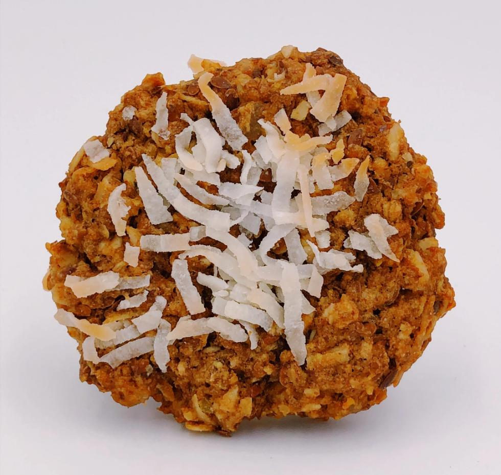 Vegan Coconut Ginger is a combination of a ginger cookie and a coconut macaroon.  Dense and chewy with an exotic ginger flavor mellowed by coconut.