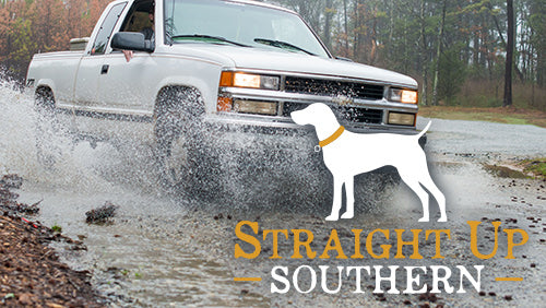 """Straight Up Southern"" logo over photo of a truck splashing through the outdoors"