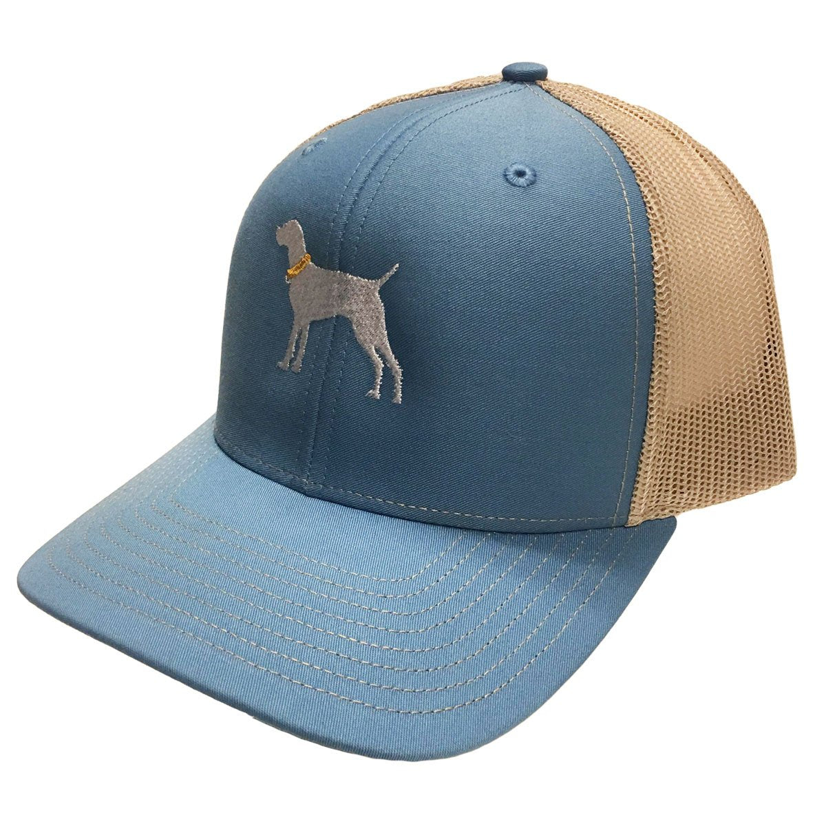 Dog Logo Blue Tan Mesh Hat