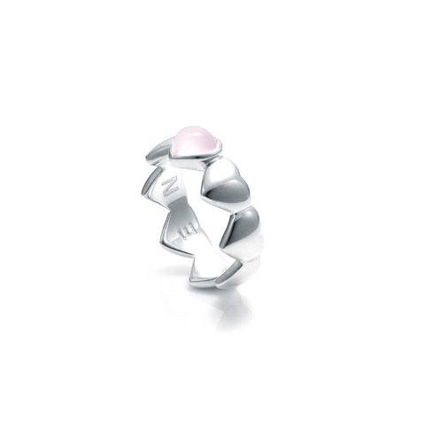Stolen Girlfriends Club Band Of Hearts Ring - Rose Quartz The Stolen Girlfriends Club Band of Hearts Ring is an edgy modern ring. An update on one of Stolen Girlfriends Club Cult favourites, Featuring a band of hearts with a Rose Quartz stone. Crafted in sterling silver this ring makes a statement.