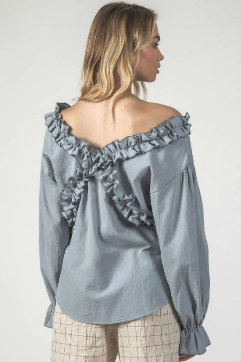 THING THING ZIG ZAG TOP  The Thing Thing Zig Zag Top is a fun feminine top easy to dress up or down! The Zig Zag Top features a gentle off-the-shoulder design, with a ruffle encasing the neckline, crossing over at both the front and back, falling to a gently curved neckline, finished with elasticated frilled sleeve cuffs. Dress the Thing Thing Zig Zag Top up or down for individual styling!