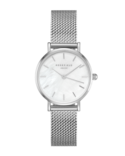"ROSEFIELD SMALL EDIT - SILVER  The Rosefield Small Edit Watch is a dainty watch perfect for every day wear. Simple sophistication! Featuring a silver link-style strap, which is easy to adjust, a white face, with silver hardware and signature 'Rosefield"" engraving, this beautiful watch is small with a big presence! The Rosefield Small Edit Watch can be interchanged with any of the other straps in the Small Edit collection."