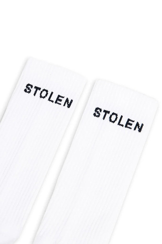 STOLEN GIRLFRIENDS CLUB STOLEN CLASSIC SOCKS - WHITE  Add some style and edge to any outfit with the Stolen Girlfriends Club Classic Socks, which are now available in White.  A soft every-day essential, the Stolen Classic Socks feature ribbed cuffs, with a signature 'Stolen' branding and logo on each sock.  Dress The Stolen Classic Socks right up, or wear them casually.  - Sizes; S/M, M/L - Cotton/Elastane