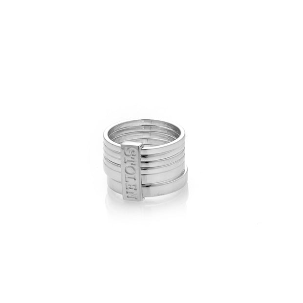 Stolen Girlfriends Club Six Piece Band Ring - Silver Womens jewerally / Ring / High polish sterling silver