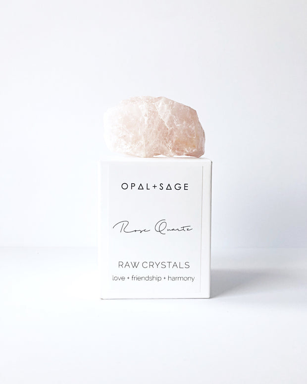 Opal + Sage - Rose Quartz Raw crystal / Love / Friendship / Harmony / Roughly 6cm