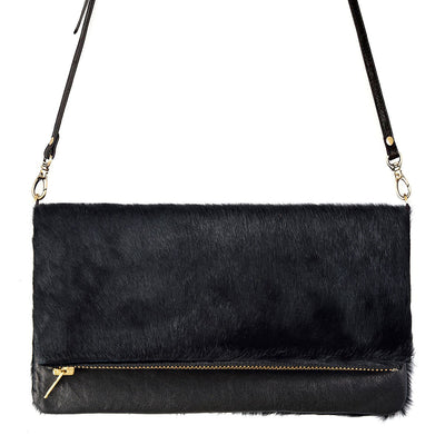Status Anxiety Gwyneth Bag -Black/Black Fur The Status Anxiety Gwyneth bag is a cult favourite. The perfect size for a night out or everyday use. The Gwyneth bag is crafted from genuine leather with black cowhide detailing. Featuring a large open pocket for the main compartment with an extra pocket under the front flap to keep your cards and cash.