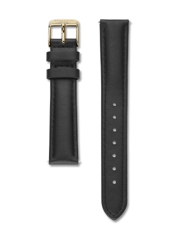 Rosefield Strap - Tribeca Black Leather / Gold Clasp Watch strap / Stitched genuine leather strap / Black strap with gold clasp / 33mm in length and 16mm width / Interchangeable with the straps within the Tribeca, West Village, Upper East Side and September Issue collection