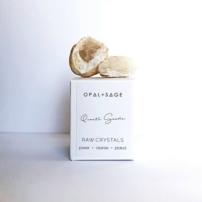 OPAL + SAGE - QUARTZ GEODE  The Opal + Sage Quartz Geode Crystal is a natural crystal great for adding to any rooms atmosphere, they also make gorgeous gifts.  A geode is a round rock which contains a hollow cavity lined with crystals.