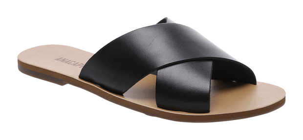 Anacapri Flat Cross - Black Womens Slides / Leather Upper / Sizes 36-42 / Also available in other colours