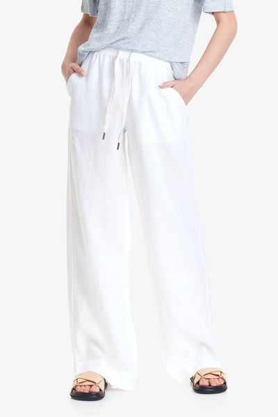 COMMONERS WIDE LEG LINEN PANT  The Commoners Wide Leg Linen Pants are the perfect basic wardrobe staple, now available in a crisp white. The Wide Leg Linen Pants speak for themselves and feature a relaxed silhouette, with wide legs sitting approximately at the ankle, finishing with an encapsulated elasticated waistband with drawstrings for controlled comfort. Crafted using a soft linen blend, The Wide Leg Linen Pants are all about comfort while looking stylish! Team the Commoners Wide Leg Linen