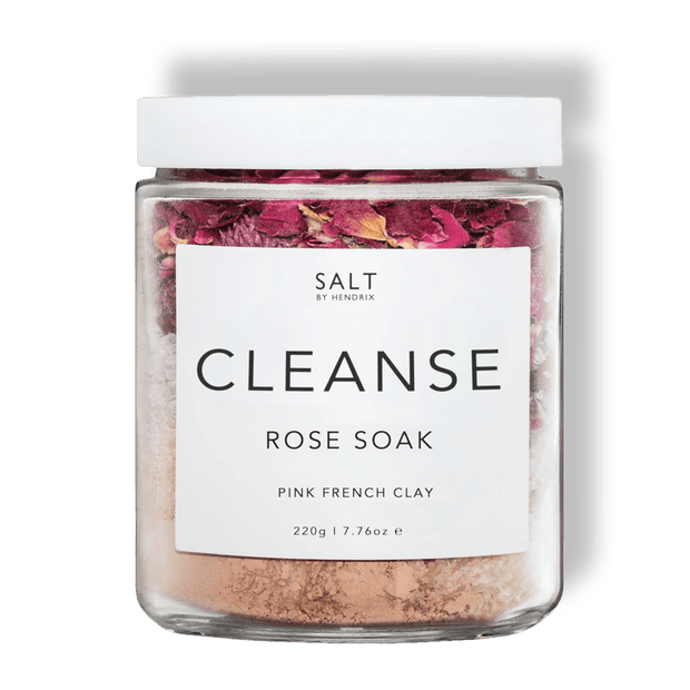 SALT BY HENDRIX ROSE CLEANSE  The Salt By Hendrix Rose Soak is your perfect bath time addition. With Rose and pink clay to detoxify and purify your skin. Gentle yet effective the rose soak will leave your skin feeling great and you feeling relaxed.  Usage; Add 1-2 tablespoons to a warm bath. Sit back and enjoy! - Rose and pink clay  - All natural, vegan and cruelty free
