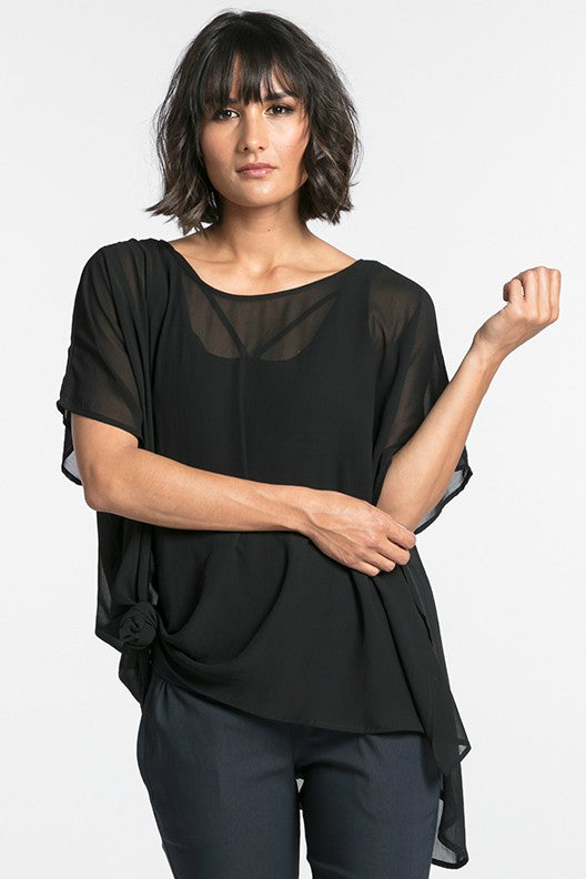 NES CIVITA TOP  The Nes Civita Top in Artillery is a sheer staple for everyday wear. Crafted from 100% polyester, this easy to wear top is loose and flowing, with angled sleeves and a slight drop tail, featuring a split detail on the left side, ideal for tying up or tucking in.