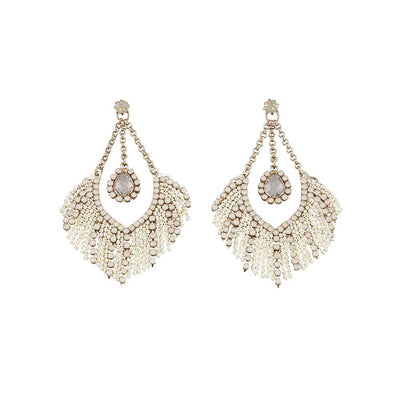 JOLIE & DEEN MARIS EARRINGS - WHITE  The Jolie & Deen Mavis Earrings are stunning statement stud-style earrings guaranteed to add style and sophistication to any outfit. The Mavis Earrings feature a hanging pear cut pale grey Swarovski stone in a teardrop design, suspended by fine chain with chocolate gold setting and white chain detail. They are perfect for a wedding or special occasion.
