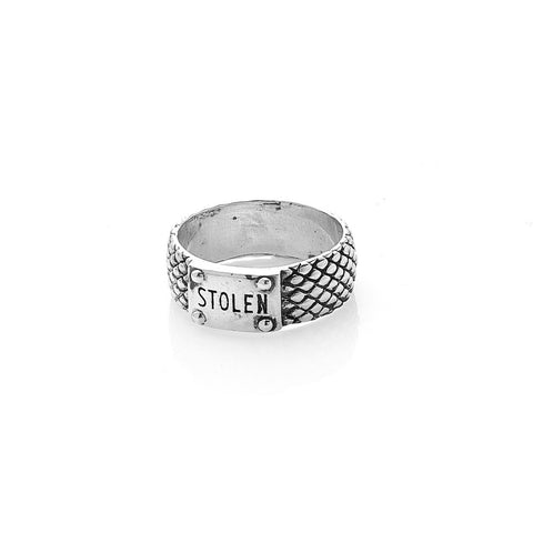 STOLEN GIRLFRIENDS CLUB SNAKE BAND SKINNY RING  The Stolen Girlfriends Club Snake Band Skinny Ring is a edgy textured ring, featuring a snake skin pattern around the outer ring, finished with a signature 'STOLEN' branded plaque. Simple, edgy and stylish, wear The Stolen Girlfriends Club Snake Band Skinny Ring daily or for your chosen occasion.