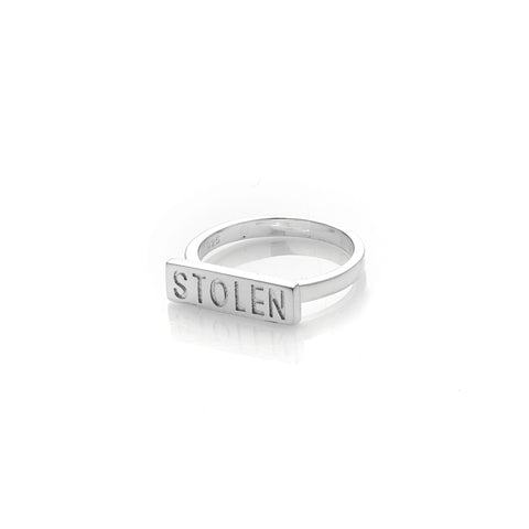 STOLEN GIRLFRIENDS CLUB STOLEN BAR RING  The Stolen Girlfriends Club Stolen Bar Ring is a gorgeous simple ring perfect for daily or occasion wear. The Stolen Bar Ring speaks for itself and features a 'Stolen' Bar across the front of the ring, finished with a fine band. Simple sophistication at its finest. Team the Stolen Girlfriends Club Stolen Bar Ring back with the matching studs, layer, or wear alone.
