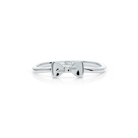 Stolen Girlfriends Club Baby Bow Ring - Silver Womens rings / High polish sterling silver Baby Bow Ring / 1.6mm band / Wear it alone or stacked with similar styles / Size Medium = N / US 6 3/4