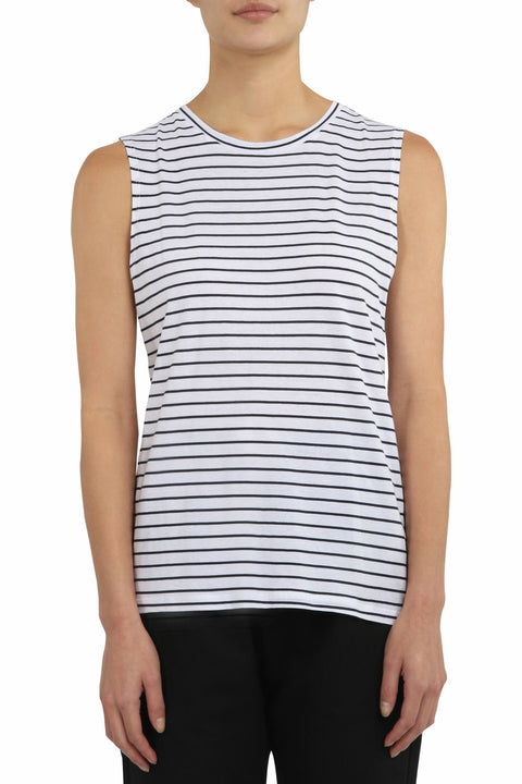 Nude Lucy Keira Basic Muscle Tank - Navy Stripe The Nude Lucy Keira Basic Muscle Tank is an essential wardrobe staple for summer, wear it alone or layered. Crafted from soft and breathable Cotton. Featuring a crew neckline, these tanks can easily be worn with anything.