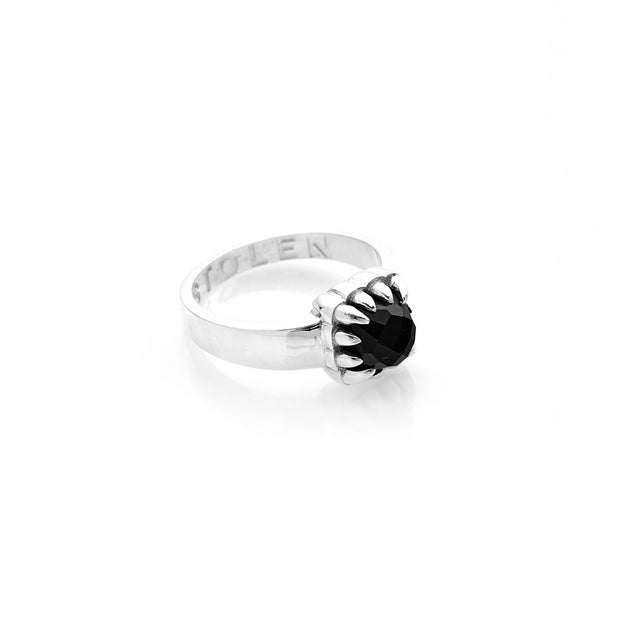 STOLEN GIRLFRIENDS CLUB BABY CLAW RING  The Stolen Girlfriends Club Baby Claw Ring is now available in Black Onyx, or Yellow Citrine. The Baby Claw Ring features a thick band, holding an Onyx, or Yellow Citrine heart charm, which is held in place by the silver claw. The Stolen Girlfriends Club Baby Claw Ring embodies simple sophistication at its finest. Team them back with any look for added style and edge.
