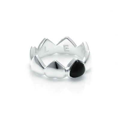 Stolen Girlfriends Club Band Of Hearts Ring - Onyx The Stolen Girlfriends Club Band of Hearts Ring is an edgy modern ring. An update on one of Stolen Girlfriends Club Cult favourites, Featuring a band of hearts with a Onyx stone. Crafted in sterling silver this ring makes a statement.