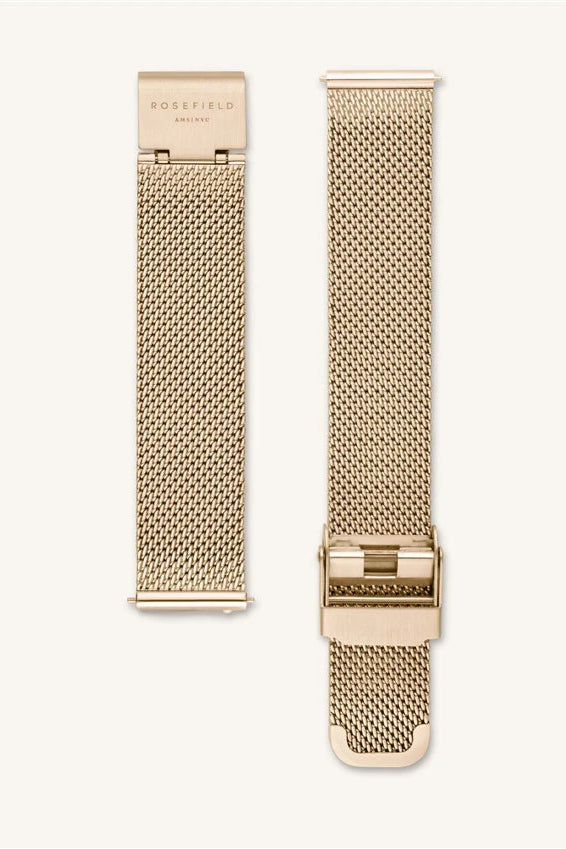 ROSEFIELD TRIBECA WATCH STRAP  The Rosefield Tribeca Strap in Gold or Silver Mesh is a classic design which can be interchanged with the following styles; West Village, Upper East Side, Tribeca and September Issue collection. Wear alone or pair with one of Rosefield's beautiful bracelets. This watch effortlessly moves from day to night.