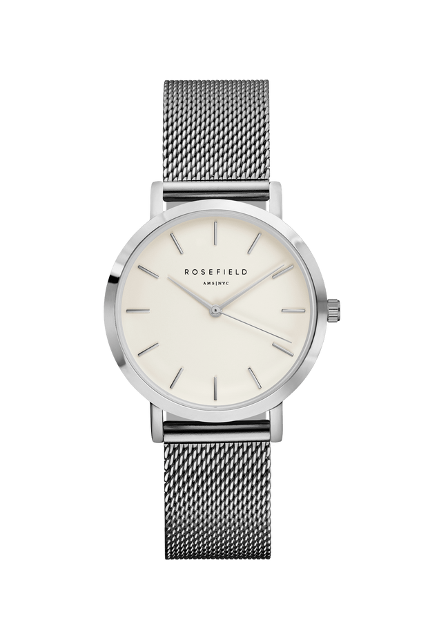 ROSEFIELD TRIBECA WATCH - MESH  The Rosefield Tribeca is a gorgeous versatile watch, now available in a Silver or Gold/Rosefield Mesh colorway. Featuring a timeless mesh design strap which is easy to adjust, a white face and silver or gold-plated hardware, this watch effortlessly compliments any outfit weather it be causal or formal!