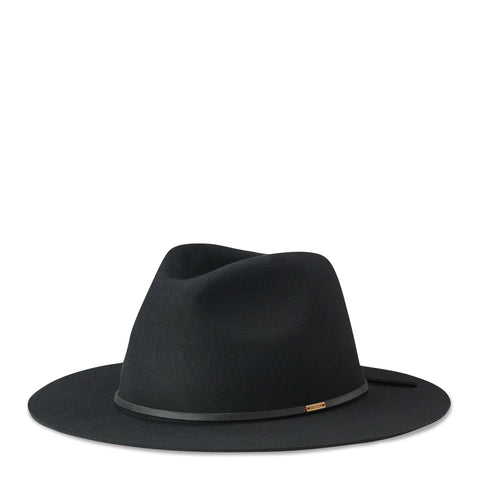 BRIXTON WESLEY FEDORA  The Brixton Wesley Fedora is a modern take on the classic fedora. The Wesley Fedora has a relaxed silhouette, making this hat comfortable, malleable and adjustable if desired. The Wesley Fedora features a medium sized flat brim, and a leather band around the base finishing at the back with a gentle tie.