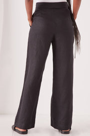 ASSEMBLY LABEL WOMENS WIDE LEG LINEN PANT - BLACK  The Assembly Label Wide Leg Linen Pants are the ultimate basic wide leg pants which speak for themselves with their straight-cut wide legs, flat waistline and invisible zip closure at the right side, finished with two classic pockets and straight-cut hemlines.