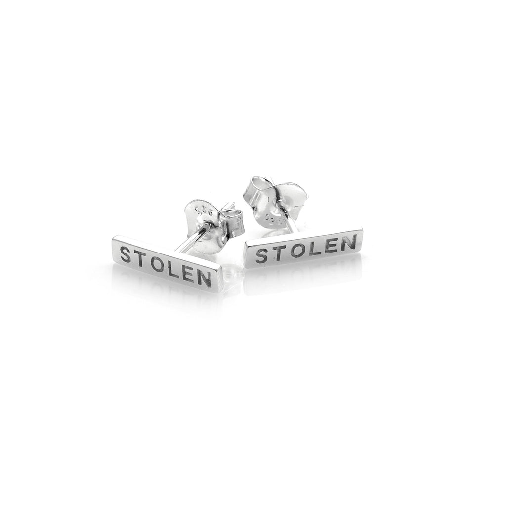 Stolen Girlfriends Club Tiny Stolen Bar Earrings - Silver Womens Jewellery / earrings / stolen bar / sterling silver