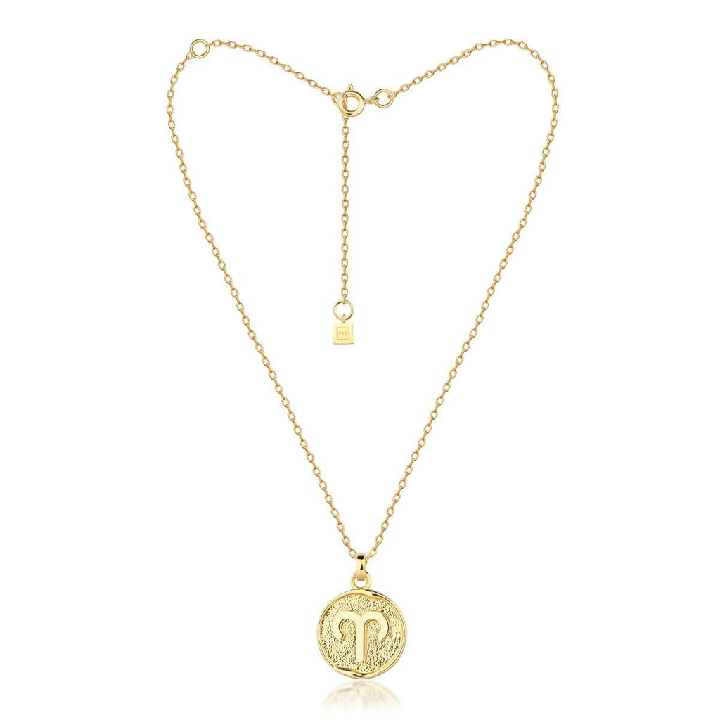F + H Zodiac Necklace - Gold Womens necklace / Zodiac symbol detailing / 18K Gold plating / Brass base with micron plating to premium jewellery standards / Brass base metal / Nickel free / Drop 550mm / 3 Adjustable lengths