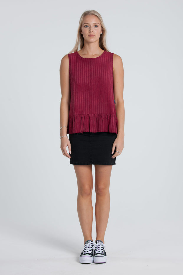 Lower Frida Top - Cherry Womens Top / 100% Cotton / Frill raw hemline / Sizes 6-12