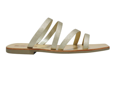 Sol Sana Lorella Slide - Gold The Sol Sana Lorella Slide is the perfect summer companion. Featuring modern gold straps and a square toe and  Crafted with a durable sole and 100% leather straps these slides bring you comfort and style and are perfect for any summer occasion.