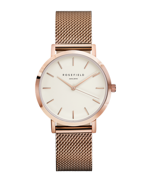 Rosefield Strap - Tribeca / Rosegold Mesh Watch strap / Stainless steel / Rose gold./ Rose gold clasp /  16 mm / Interchangeable with the straps within the Tribeca, West Village, Upper East Side and September Issue collection