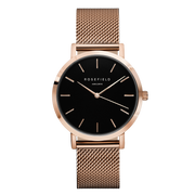 ROSEFIELD WATCH MERCER - BLACK/ROSEFIELD MESH The Rosefield Mercer is a gorgeous versatile watch, now available in a Black/Rosefield Mesh colorway. Featuring a timless mesh design strap which is easy to adjust, a black face and Rose gold-plated hardware, this watch effortlessly compliments any outfit weather it be causal or formal! This beautiful watch can be interchanged with any of the following; The Mercer, Gramercy and Bowery collection.