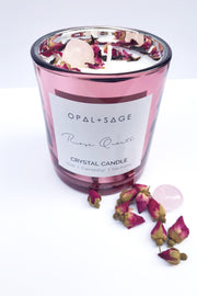 Opal + Sage - Rose Quartz Candle Candle / Hand poured / Soy candle / Sweet pea scent