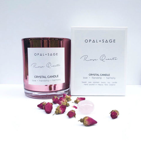 Opal + Sage - Rose Quartz Candle